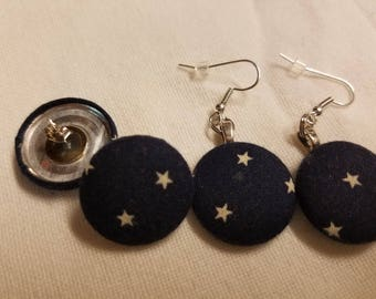 Starry Night Sky Fabric Button Earrings Surgical Steel Posts or Wires 7/8 inch diameter Blue and White Starry Sky Navy Blue Post Earrings