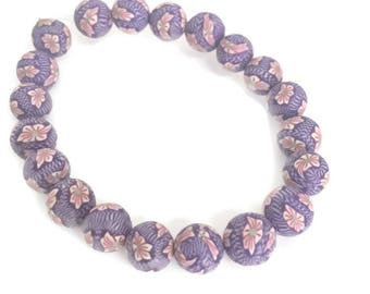 7mm round beads, lilac polymer clay beads, 20 bead strand.  Pink clay beads. Polymer clay jewelry. Jewelry making. Beads for bracelet.