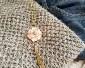 Pink petals with gold tassel necklace