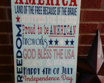 America Subway Art Wood Sign. 4th of July Home Decor. USA Typography Wooden Sign.Homemade wood sign vinyl lettering.
