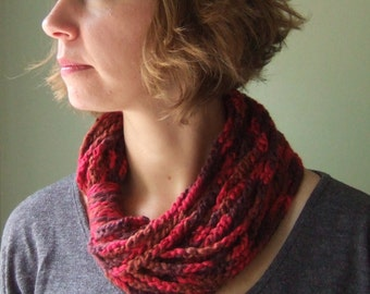 Dark Red Scarf Necklace /  Organic Cotton / Rope Scarf / Crochet Scarf
