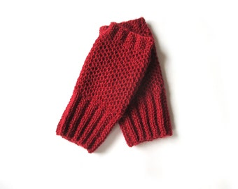 Red fingerless gloves, alpaca wrist warmers, womens knit gloves