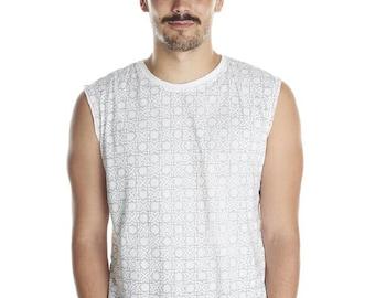 SALE ! Unique mens T shirt singlet Arabic Sacred Geometry - Burning Man Tribal Print Fractal Art Festival Clothing Funky Wear