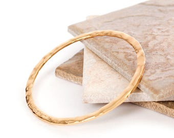 Yellow Gold Plated Hammered Bangle