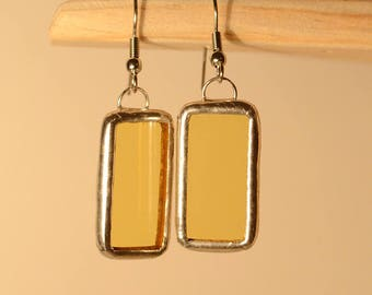Earrings glass, stained glass tiffany technique