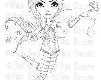 Digital Stamp - Printable Coloring Page - Fantasy Art - Fairy Stamp - Adult Coloring Page - Cadence - by Nikki Burnette - PERSONAL USE