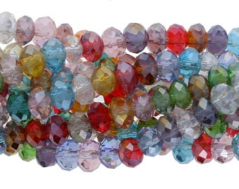 Multi Color Crystal Beads, Round Beads, 4mm, 1 strand, Crystal Beads, Beads For Making Jewelry, Wholesale Beads