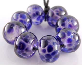 Hyacinth Violet on Purple SRA Lampwork Handmade Artisan Glass Donut/Round Beads Made to Order Set of 8 8x12mm