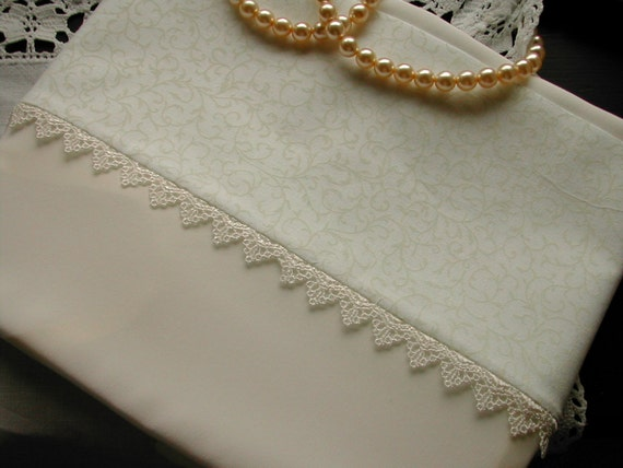 Pair charmeuse mulberry silk and cotton pillowcases with guipure lace trim