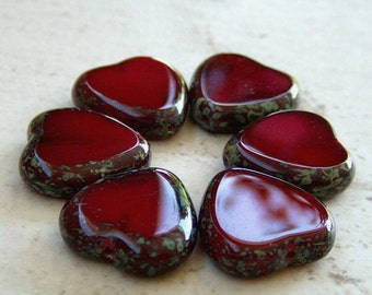 Czech Glass Heart Bead Oxblood Red Picasso 15mm : 6 pc Red Heart Bead