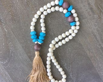 CLEARANCE White Wood Tassel Necklace