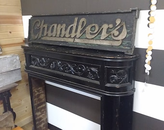 Gorgeous Antique Mantle; Salvaged Mantle; Fireplace Surround; Fireplace Mantle; Black Mantel; Fixer Upper; Joanna Gaines; Magnolia B&B