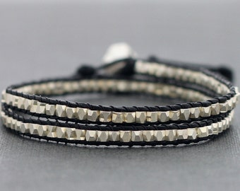 Faceted Silver Leather Wrap Bracelet
