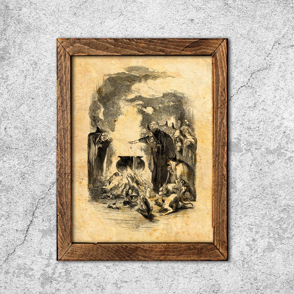 Witches aged print wiccan illustration alchemy pergament