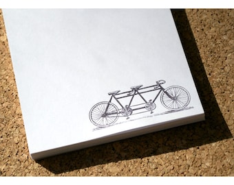Tandem Bicycle Notepad - Bike Built for Two - Two Person Bike Notepad - Personalized - Cyclist Note Pad - Recycled Paper 50 page Notepad
