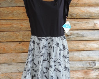 New with Tags Prato Vintage 1980's Black White Geometric Dress Women Size 8