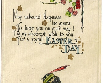 Native American Indians Easter Greeting Vintage Postcard