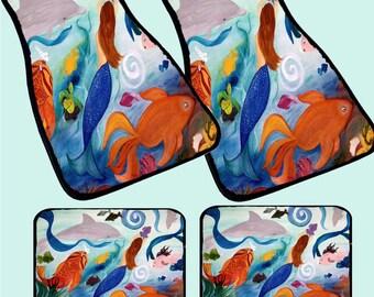 Mermaid and Tropical Fish Coastal Art Car Mats front and rear from my original design