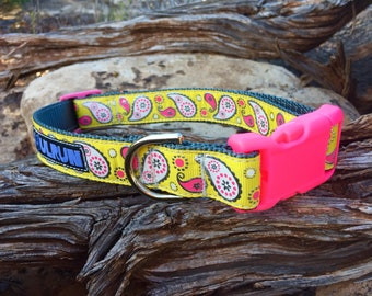 Dog Collar - Yellow with Pink and White Paisley