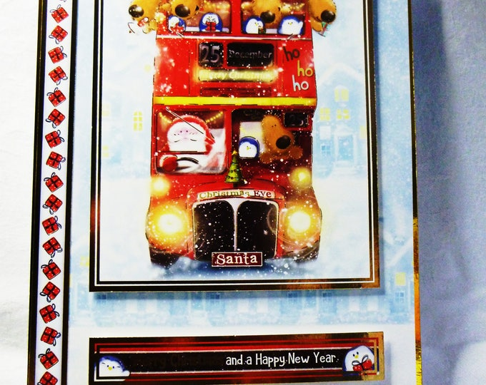 Big Red Bus Christmas Card, Santa and His Reindeer Card, Greeting Card, Christmas Card, Any Age, Male or Female