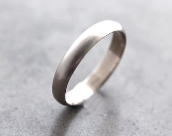 White Gold Wedding Band, 4mm Half Round Recycled 14k Palladium White Gold Wedding Band -  Made in Your Size