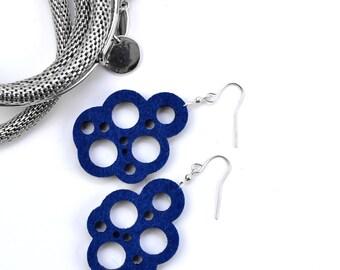 Felt laser cut earrings, necklace circles earrings