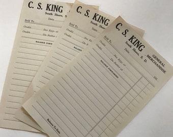 General Merchandise Receipts / 6 Vintage Old Merchandise Receipts Unused