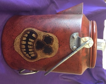 Vintage Old Halloween Patina Handpainted Coffee Pot Ghoul Ade