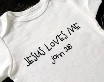Jesus Loves Me White Bodysuit, Jesus loves me gift, Jesus Loves me bodysuit