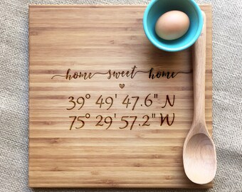 Engraved Coordinate Cutting Board, Home Sweet Home Housewarming Gift, Custom Coordinate Bamboo Cutting Board, Engraved Personalized Gift
