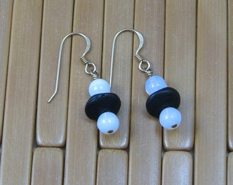 Black and White Glass Beaded Earrings on Gold Filled Ear Wires, Black Glass and Opalite Beaded Jewelry, Black and White Beaded Jewelry
