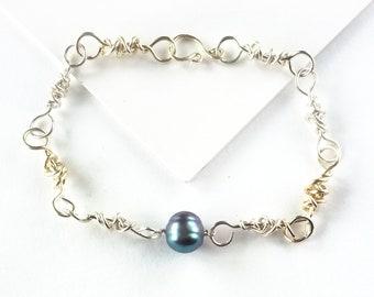 Men's Handmade Link Bracelet With Freshwater Pearl