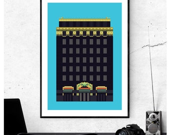 The Palladium House or Ideal House - Art Deco London Illustrated art print - Matte, Giclee Art Prints. Gifts for Architects - London Prints