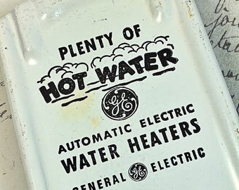 Vintage outdoor metal thermometer General electric Water Heaters GE temperature white black advertising
