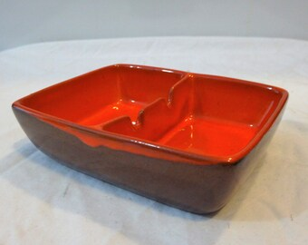 Vintage Orange Frankoma Ashtray/ Frankoma 469/ Frankoma Flame Ashtray/ Orange and Brown Small Frankoma Ashtray