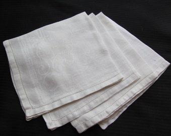 """Napkins Vintage Set of 4 Ivory Cotton Damask Dinner Napkins 15"""" x 15"""""""