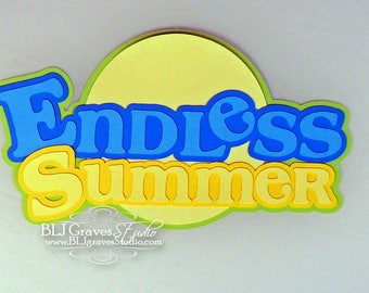 Premade Paper Piece Title Die Cut for Scrapbook Page Summer Vacation Beach Handmade 16