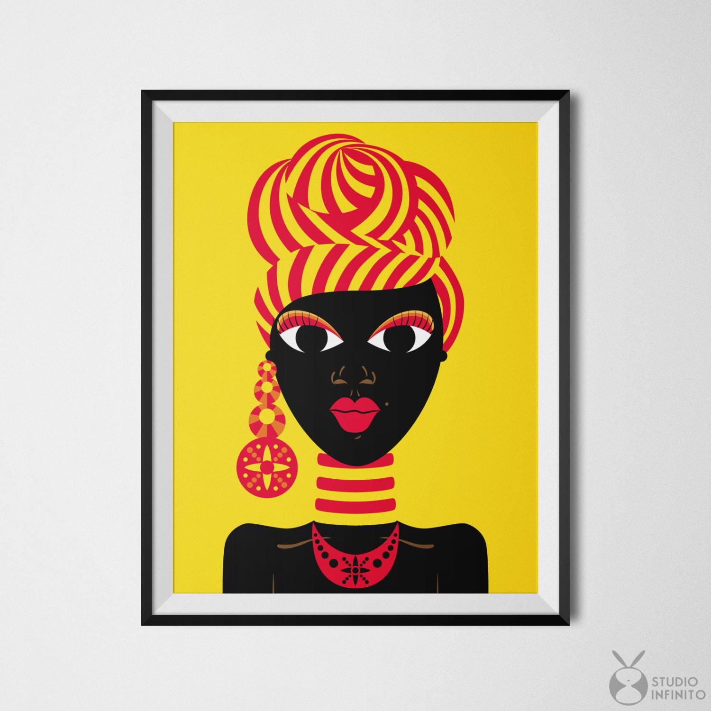 Black Woman Art African Woman Black Girl Art African Gifts