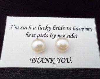 Pearl Bridesmaid Earrings, Bridesmaid Gifts, Bridal Party Gift, Genuine Pearl Earrings, Earrings Stud, Birthday Gift, 8mm