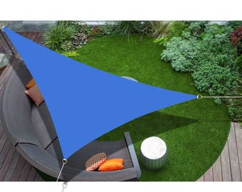Custom Sized Right Triangle Sun Shade Sail with 6'' Stainless Steel hardware kit - Blue