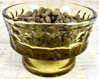 Pampered Pet Optic Amber Glass Faceted Glass Pedestal Food Dish | Cat Food | Bowl | Dog Food Bowl | Water Bowl