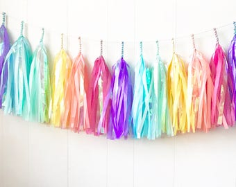 Free Shipping - Iridescent Rainbow Tassel Garland - Wedding Decor - Room decor - Nursery Decor - Photo Prop