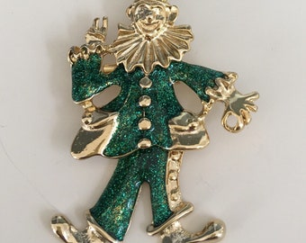 Vintage Circus Clown with movable legs Brooch