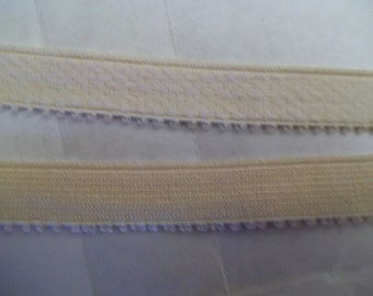 BEIGE 1/2 inch Picot Heavy Plush Lingerie Strap Elastic Headband 5 yds.