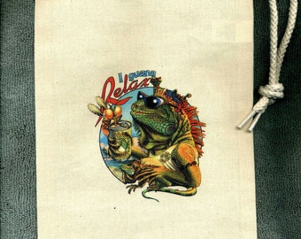 Iguana Relax Wine or Spirits,  Awesome Party Gift, Beachy Cool