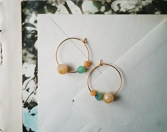 Beaded Hoop Earrings, Small Gold Hoops, Vintage Pale Orange and Bright Aqua Beads, Colorful Boho Jewelry For Women