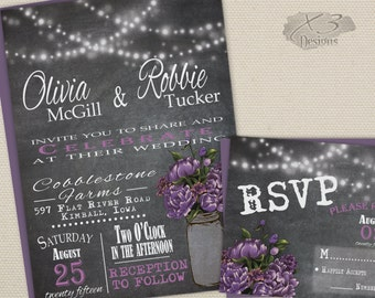 Rustic Wedding Invitation, Mason Jar Wedding, Printable Chalkboard Wedding Invitation, Summer Wedding Invite, Purple Peony, String Lights