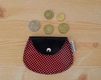 Leather coin purse,leather change purse,polka dot,change purse leather,red coin purse,dotted coin purse,womens coin purse,minimal purse