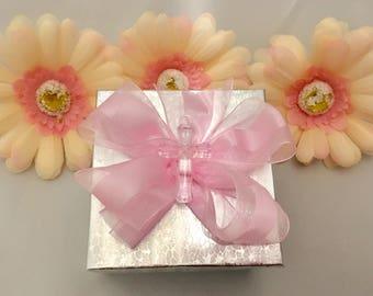 25 Silver Favor Boxes, Girl Baptism, Christening Favor Boxes, Religious favor boxes, Pink Favor Box