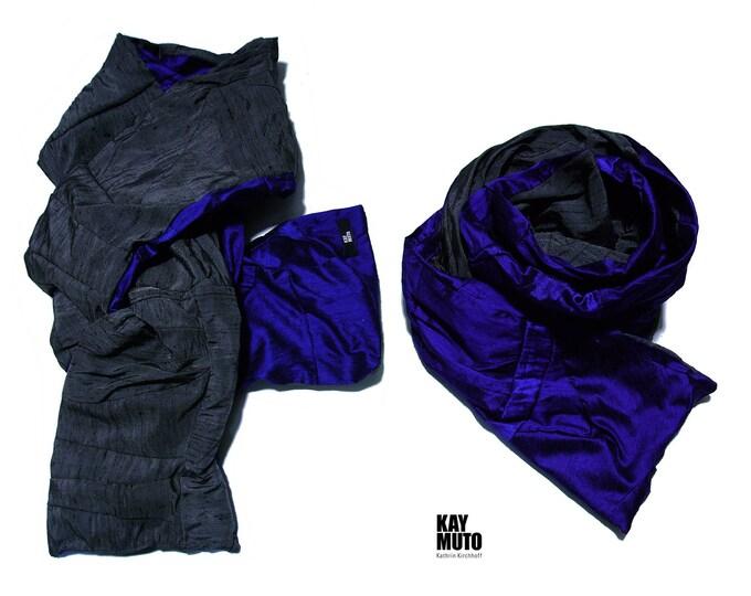 scarf shawl stole patchwork raw silk GREYMELANGE INKBLUE Scarf Amorph upcycling
